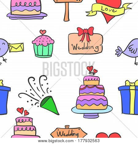 Vector art of wedding element doodles collection stock