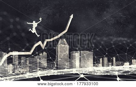 Making big success jump . Mixed media