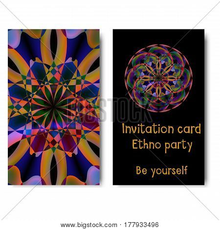 Template card with round pattern and text Be Yourself for invitations to ethnic party, yoga training, music event and other design needs. Vector illustration of brochure, leaflet, flyer and other