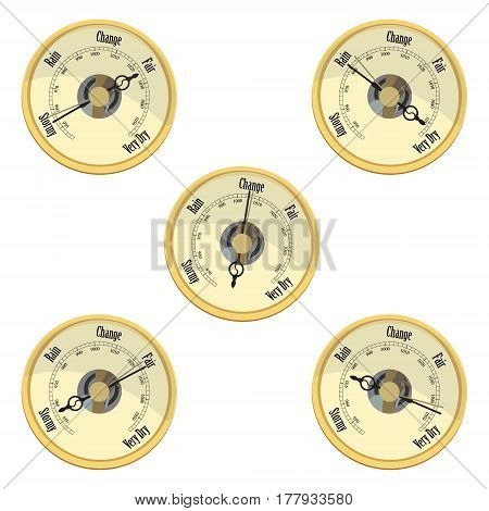 Vector illustration golden aneroid barometer isolated on white background. Barometer indicates rain and stormy fair and very dry change.