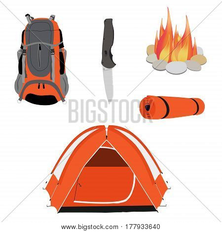 Camping equipment orange camping tent campfire with stones travel backpack and exploration hat knife and vector illustration. Camping gear icon set