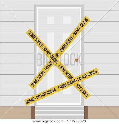 Vector illustration yellow police crime scene danger tape. Do not cross. Police tape across closed door