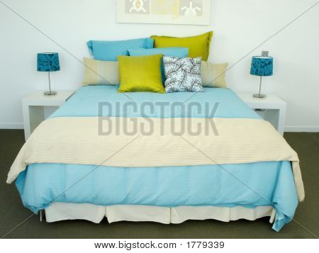 Bright Blue Bedroom