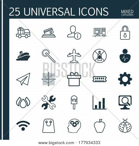 Set Of 25 Universal Editable Icons. Can Be Used For Web, Mobile And App Design. Includes Elements Such As Personal Character, Bar Chart, No Drinking And More.