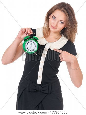 Portrait of business woman or teacher holding alarm clock, isolated on white background