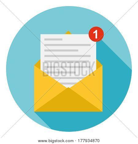 Letter in the envelope. Flat design vector illustration vector.