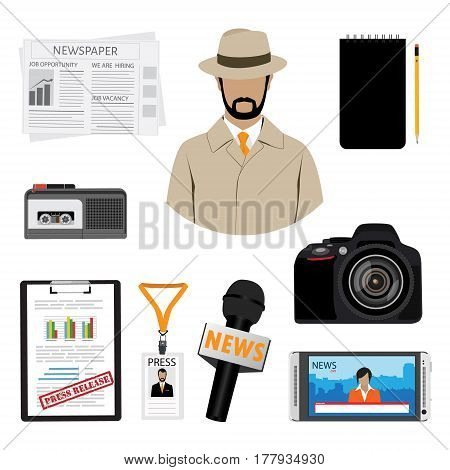 Journalist or reporter vector icon set. Dictaphone microphone press release and name tag badge template. Plastic lanyard badge with man photo for press.