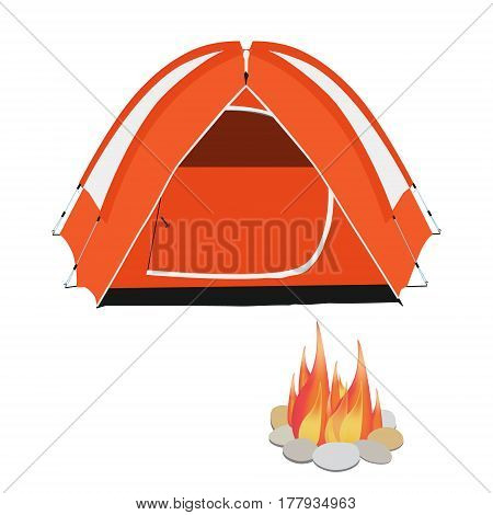 Camping equipment orange camping tent campfire with stones vector illustration
