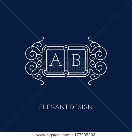 Simple and elegant monogram design template for two letters A B. Vector illustration.