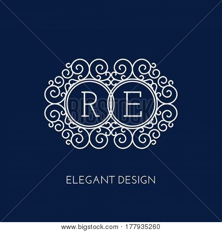 Simple and elegant monogram design template for two letters R E. Vector illustration.