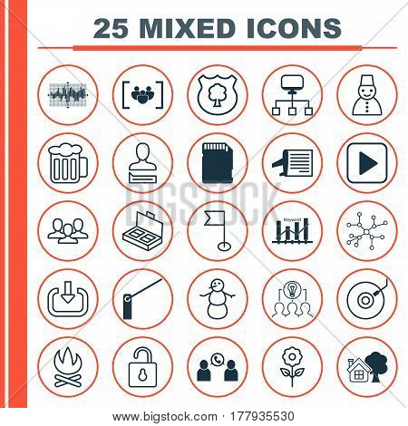 Set Of 25 Universal Editable Icons. Can Be Used For Web, Mobile And App Design. Includes Elements Such As Bar Graph On Grid, Winter, Roadblock And More.