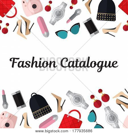 Fashion catalogue title template with fashion flat objects on  white background vector illustration