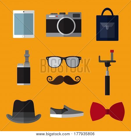 Set of simple hipster accessory flat icons on orange background vector illustration