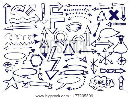 Marker pen written vector shapes. Highlight hand written arrows, lines and signs isolated on white background. Vector illustration. Set of sketch doodle ready for your business.