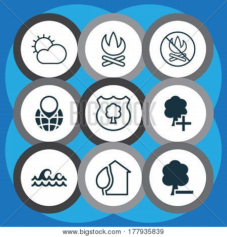 Set Of 9 Ecology Icons. Includes Home, Timber, Delete Woods And Other Symbols. Beautiful Design Elements.
