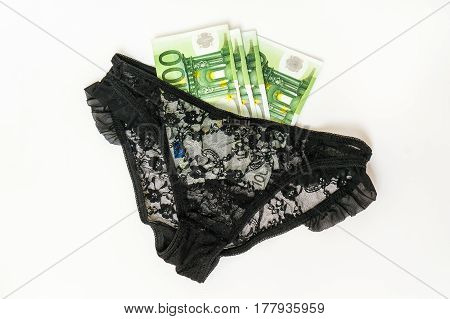 Woman's Panties And Euro Money Isolated On White