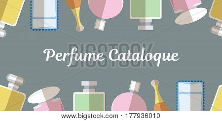 Template for perfume catalog with  color perfumery flat icons on grey background vector illustration