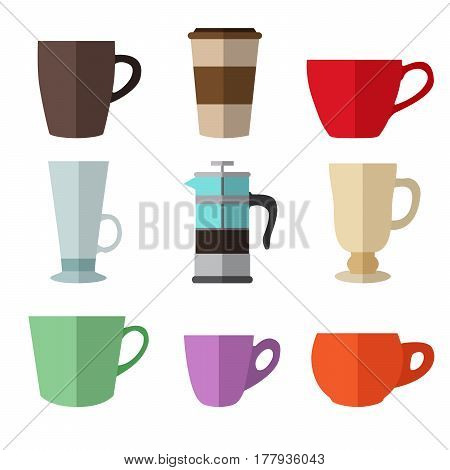 Set of simple colorful coffee cups and french press flat icons on white background vector illustration