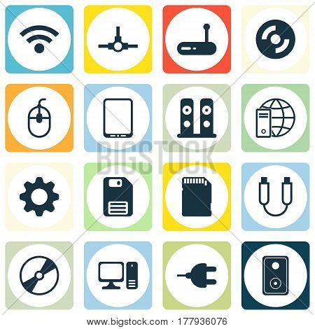 Set Of 16 Computer Hardware Icons. Includes Cd-Rom, Internet Network, Loudspeakers And Other Symbols. Beautiful Design Elements.