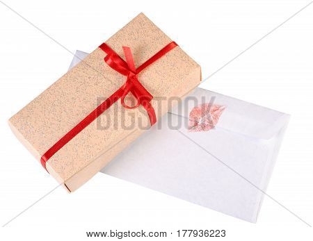 Gift box and love letter isolated on white