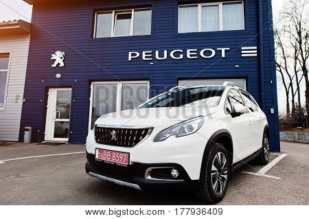 Kiev, Ukraine - March 22, 2017: New Peugeot Car At Dealership.