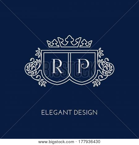 Simple and elegant monogram design template for two letters R P with a triple crown. Vector illustration.