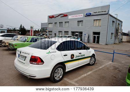Kiev, Ukraine - March 22, 2017: Volkswagen Jetta With John Deere Logo On Car Doors.