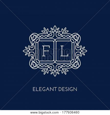 Simple and elegant monogram design template for two letters F L. Vector illustration.