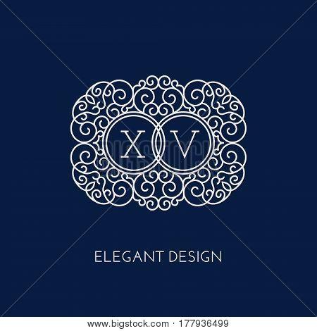 Simple and elegant monogram design template for two letters X V. Vector illustration.