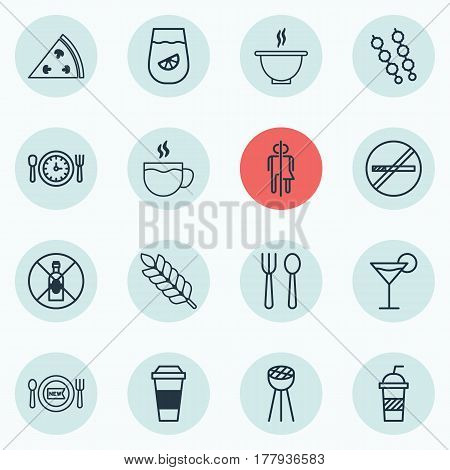 Set Of 16 Restaurant Icons. Includes Grill, Restroom, Meal Hour And Other Symbols. Beautiful Design Elements.
