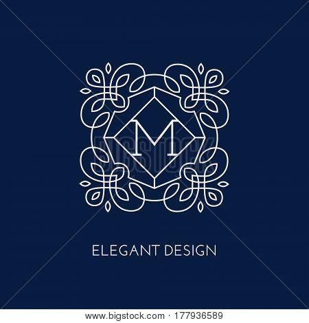 Simple and elegant monogram design template for a single letter M. Vector illustration.