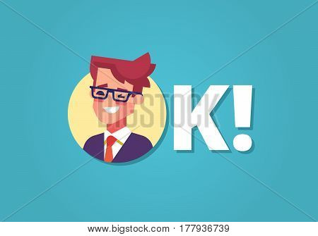 Everything is OK. Happy young businessman in suit and tie winking and smiling. Inscription OK. Flat vector illustration