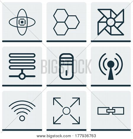 Set Of 9 Machine Learning Icons. Includes Branching Program, Related Information, Mainframe And Other Symbols. Beautiful Design Elements.