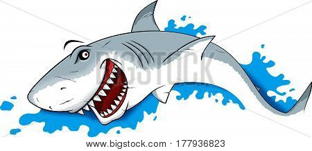 Smiling Danger Shark in water vector Illustration