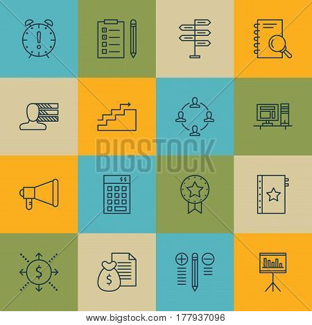 Set Of 16 Project Management Icons. Includes Computer, Growth, Decision Making And Other Symbols. Beautiful Design Elements.