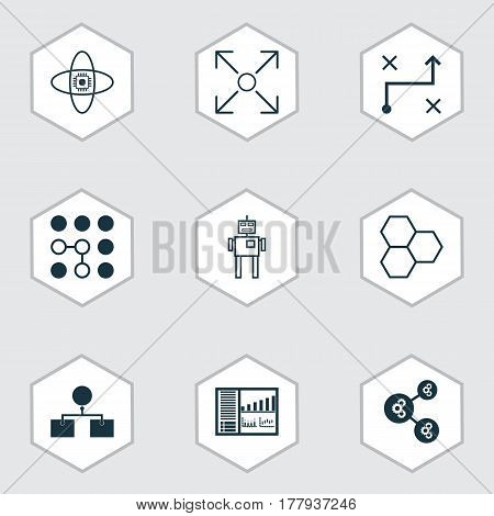 Set Of 9 Artificial Intelligence Icons. Includes Solution, Analysis Diagram, Branching Program And Other Symbols. Beautiful Design Elements.
