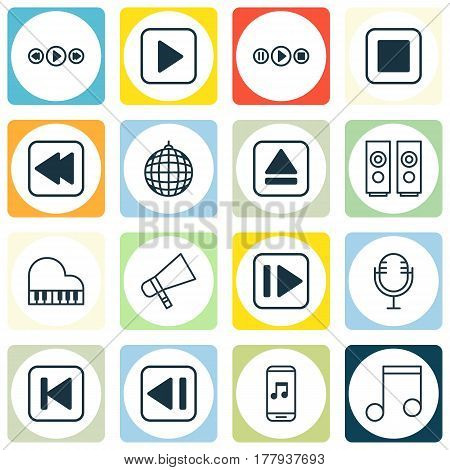 Set Of 16 Audio Icons. Includes Music Control, Mike, Extract Device And Other Symbols. Beautiful Design Elements.