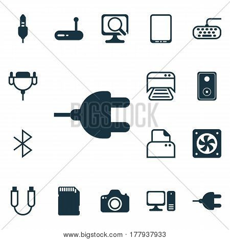 Set Of 16 Computer Hardware Icons. Includes Aux Cord, Portable Memory, Cellphone And Other Symbols. Beautiful Design Elements.