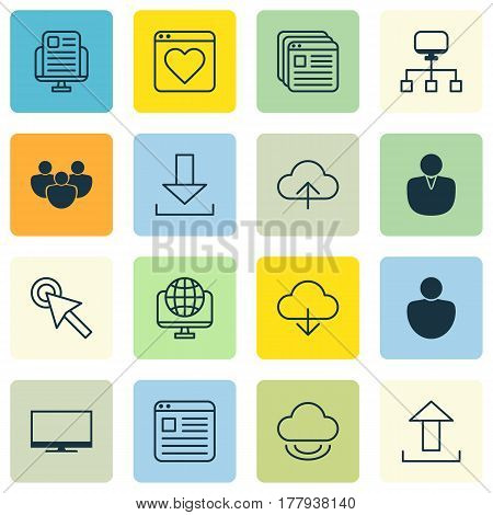 Set Of 16 Web Icons. Includes Computer Network, Send Data, Blog Page And Other Symbols. Beautiful Design Elements.