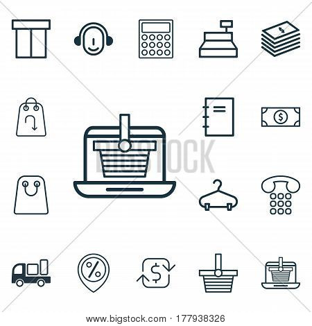 Set Of 16 E-Commerce Icons. Includes Callcentre, Box, Dollar Banknote And Other Symbols. Beautiful Design Elements.