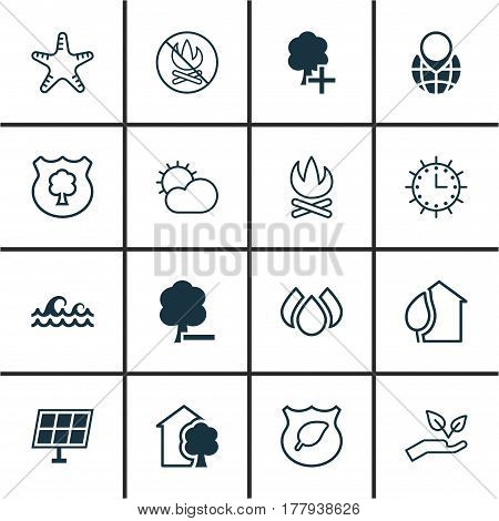 Set Of 16 Eco Icons. Includes Sun Power, House, Insert Woods And Other Symbols. Beautiful Design Elements.