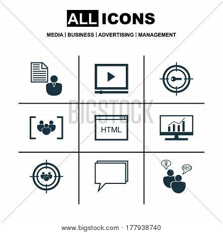 Set Of 9 Marketing Icons. Includes Report, Conference, Video Player And Other Symbols. Beautiful Design Elements.