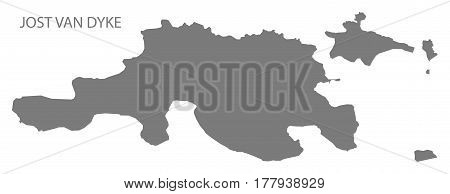 Jost Van Dyke British Virgin Islands Map Grey Illustration Silhouette