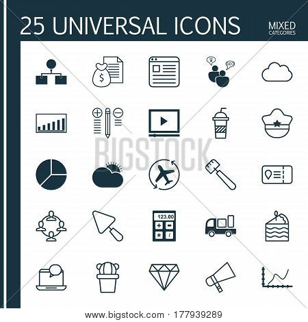 Set Of 25 Universal Editable Icons. Can Be Used For Web, Mobile And App Design. Includes Elements Such As Search Optimization, Cloud, Putty And More.