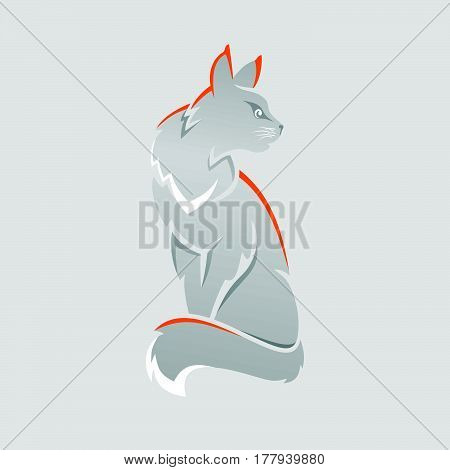Main Coon cat gray with orange vector illustration
