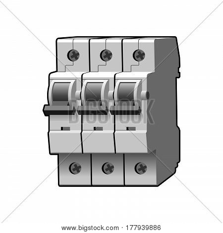 Molded case circuit breaker. Multi-pole. Modular. Miniature. Vector illustration
