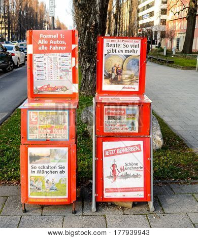 Munich,Germany-March 23,2017:The headlines of local tabloids display the important issues for the people in thecity