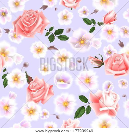 Roses seamless pattern. A bouquet of delicate flowers and twigs. Vector Illustration EPS10.