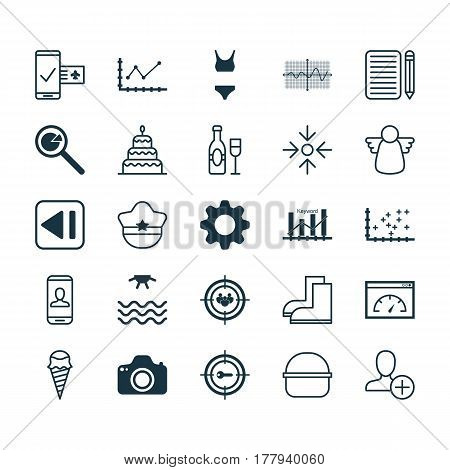 Set Of 25 Universal Editable Icons. Can Be Used For Web, Mobile And App Design. Includes Elements Such As Wine, Last Song, Privacy Information And More.