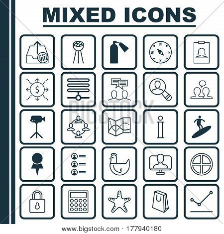 Set Of 25 Universal Editable Icons. Can Be Used For Web, Mobile And App Design. Includes Elements Such As Job Applicants, Badge, Positive And More.